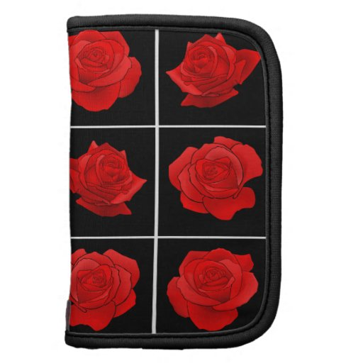 Bright Red Rose Vector Flowers on Black Organizers