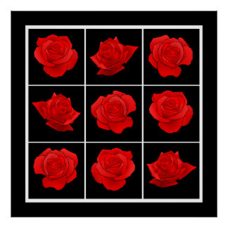 Bright Red Rose Vector Flowers on Black Print