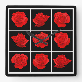Bright Red Rose Vector Flowers on Black Square Wall Clock