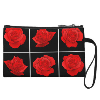 Bright Red Rose Vector Flowers on Black Wristlet