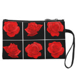 Bright Red Rose Vector Flowers on Black Wristlets