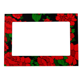 Bright Red Roses Magnetic Picture Frame