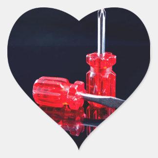 Bright Red Screwdrivers - Tool Print Heart Sticker