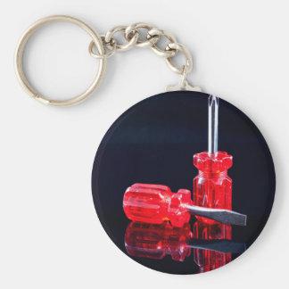 Bright Red Screwdrivers - Tool Print Keychain