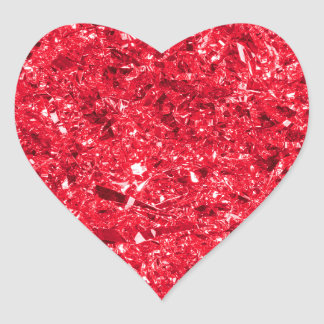 Bright Red Shredded Foil Texture Pattern Heart Sticker