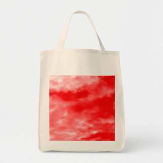 Bright Red Sky Pattern Grocery Tote Bag