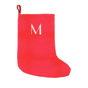 Bright Red Solid Color Your Monogram Small Christmas Stocking