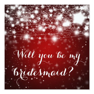 Bright Red | Stars Will You Be My Bridesmaid Card