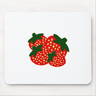 Bright Red Strawberries Illustration Mouse Pad