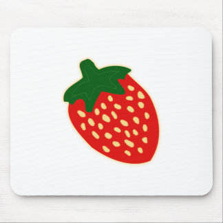 Bright Red Strawberry Illustration Mouse Pad