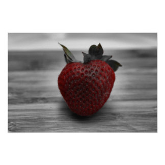 Bright Red Strawberry on B&W Photo Poster