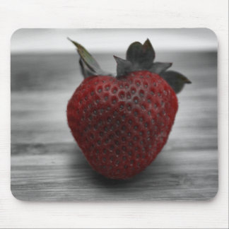 Bright Red Strawberry on Black and White Mouse Pad