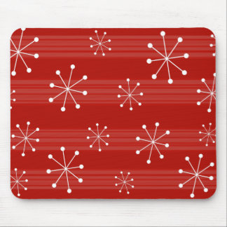 Bright Red Striped Snowflakes Holiday Mousepad