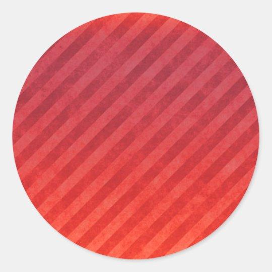 Bright Red Stripes Classic Round Sticker