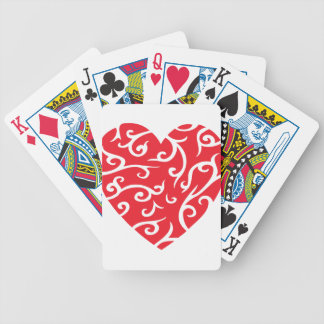 BRIGHT RED STYLIZED SWIRL HEART LOVE HAPPY ANNIVER BICYCLE PLAYING CARDS