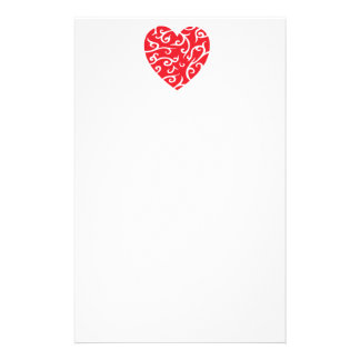 BRIGHT RED STYLIZED SWIRL HEART LOVE HAPPY ANNIVER STATIONERY PAPER