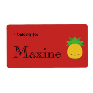 Bright red sweet pineapple custom labels