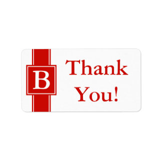Bright Red Thank You Sticker or Wedding Gift Label