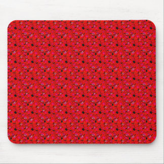 Bright Red Trendy Hibiscus Flowers Mouse Pad