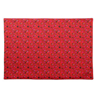Bright Red Trendy Hibiscus Flowers Placemats