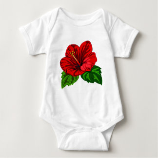 Bright Red Tropical Hibiscus Baby Bodysuit