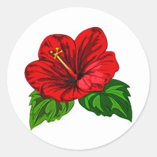 Bright Red Tropical Hibiscus Classic Round Sticker