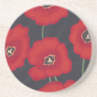 Bright Red Tulips on Black, Drink Coasters