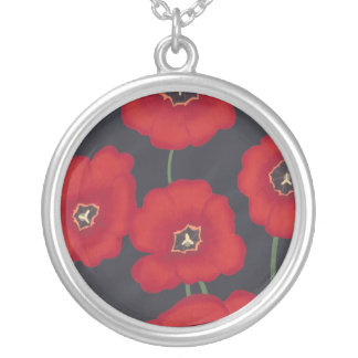 Bright Red Tulips on Black, Necklaces