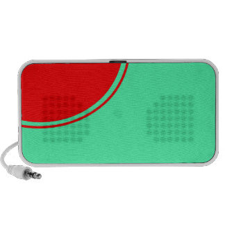 bright red turquoise iPod speakers