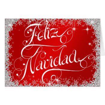 Bright Red Typography Feliz Navidad PERSONALIZED Card