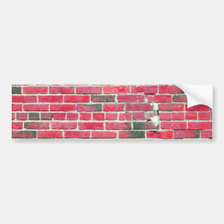 Bright Red Vintage Brick Wall Texture Bumper Sticker