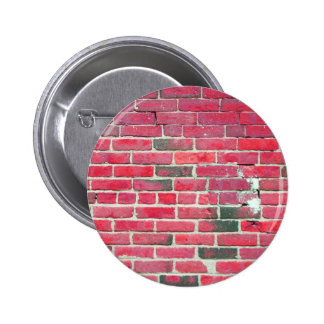 Bright Red Vintage Brick Wall Texture Button