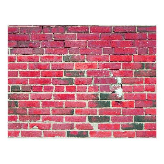 Bright Red Vintage Brick Wall Texture Postcard