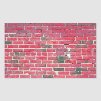Bright Red Vintage Brick Wall Texture Rectangular Sticker