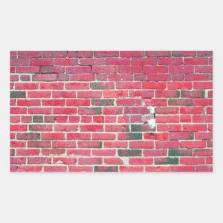 Bright Red Vintage Brick Wall Texture Rectangular Sticker
