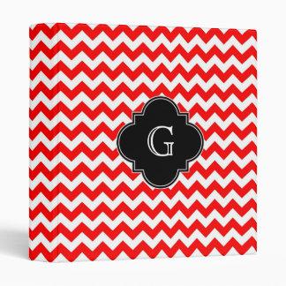 Bright Red White Chevron Black Quatrefoil Monogram Binder