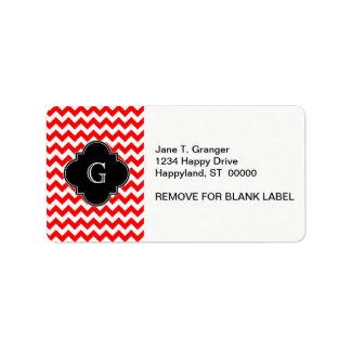 Bright Red White Chevron Black Quatrefoil Monogram Label