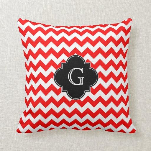 Bright Red White Chevron Black Quatrefoil Monogram Pillow