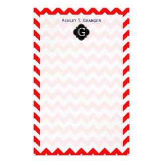 Bright Red White Chevron Black Quatrefoil Monogram Stationery