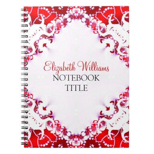 Bright Red   White Diamond Batik Notebook