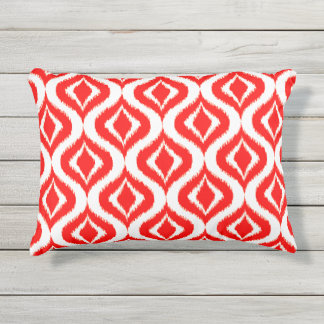 Bright Red White Retro Chic Ikat Drops Pattern Outdoor Pillow