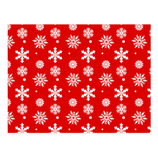 Bright Red White Snowflakes Pattern 1 Post Card