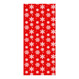 Bright Red White Snowflakes Pattern 1 Custom Rack Card