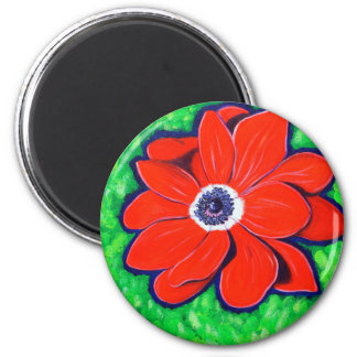 Bright Red Windflower Magnet