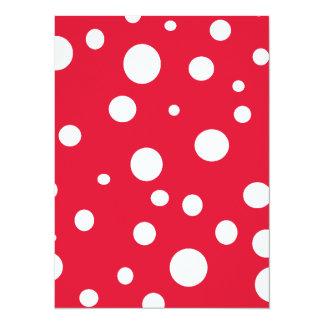Bright Red with White Polka Dots 5.5x7.5 Paper Invitation Card