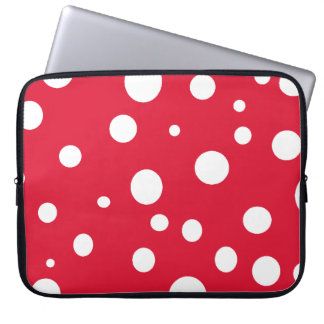 Bright Red with White Polka Dots Laptop Computer Sleeve