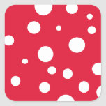 Bright Red with White Polka Dots Summer Fun Square Stickers