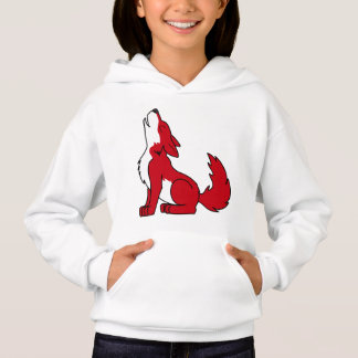 Bright Red Wolf Pup Howling Hoodie
