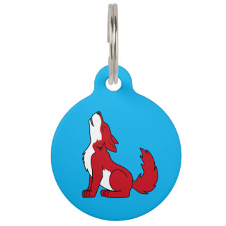 Bright Red Wolf Pup Howling Pet Tag