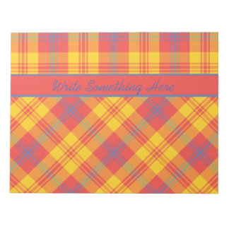 Bright Red Yellow and Blue Plaid Notepad or Jotter